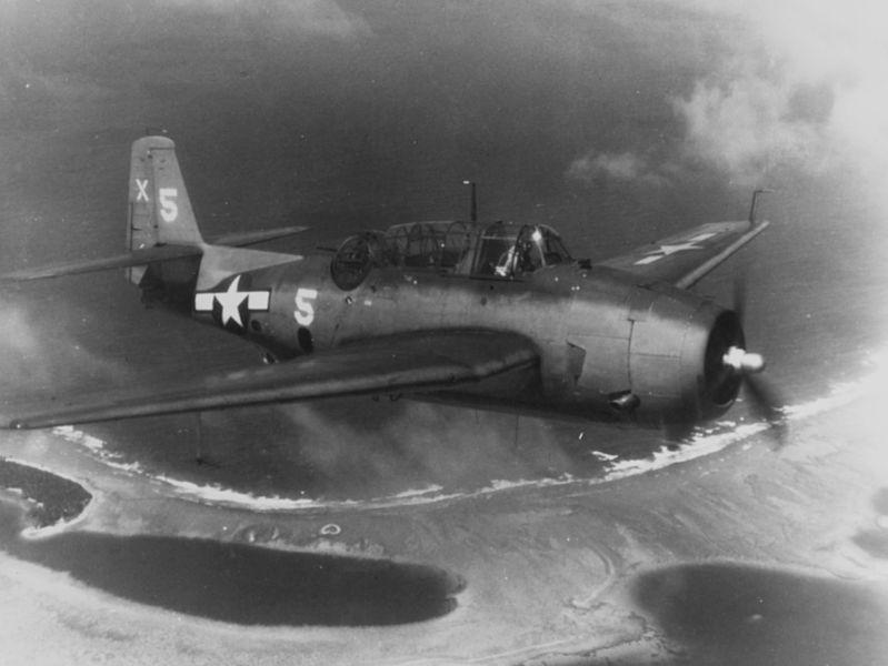 TBM-1C_Avenger_of_VT-51_over_Majuro_Atol